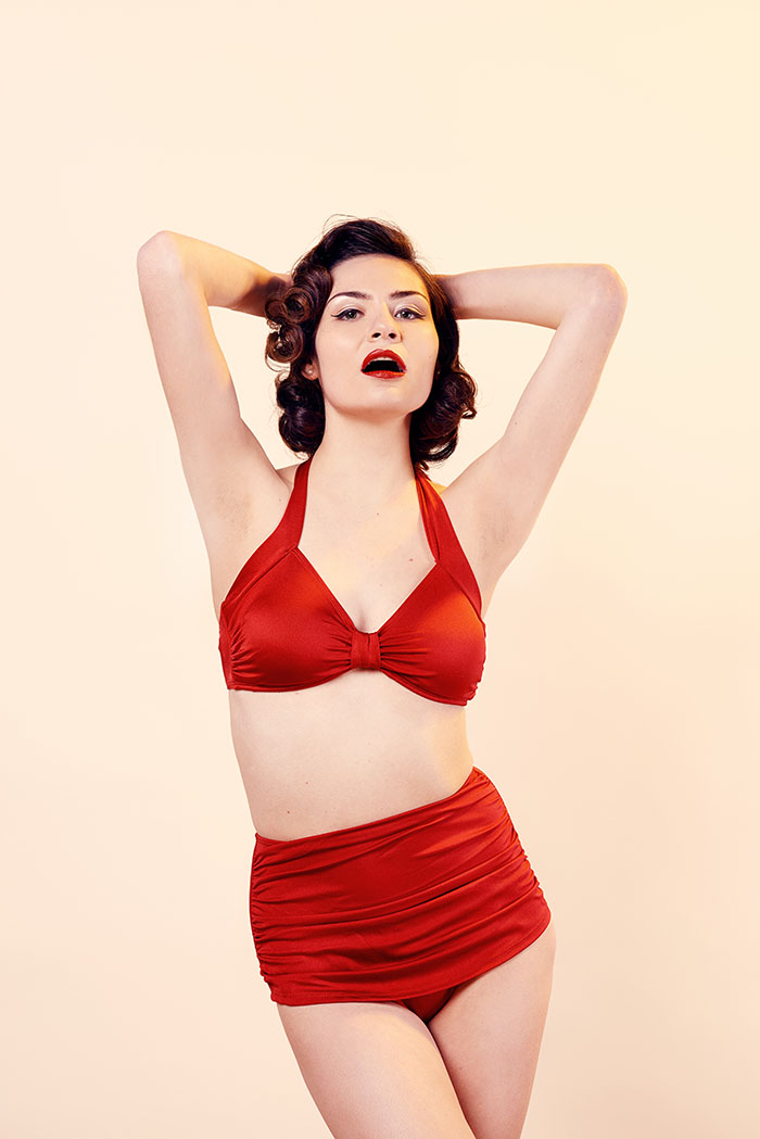 7d245371f0e6e Esther Williams Red Retro Vintage High Waist Bikini Bottoms ...