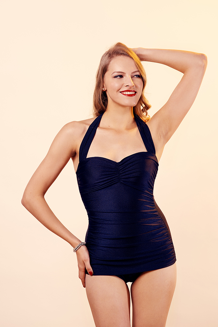 8510d5c145c94 Esther Williams Black 1950 s Style Classic One-Piece Halterneck Swimsuit -  Bettylicious