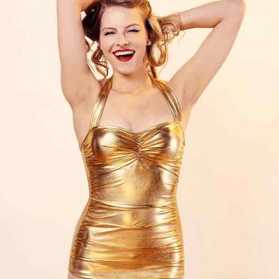 gold retro swimsuit
