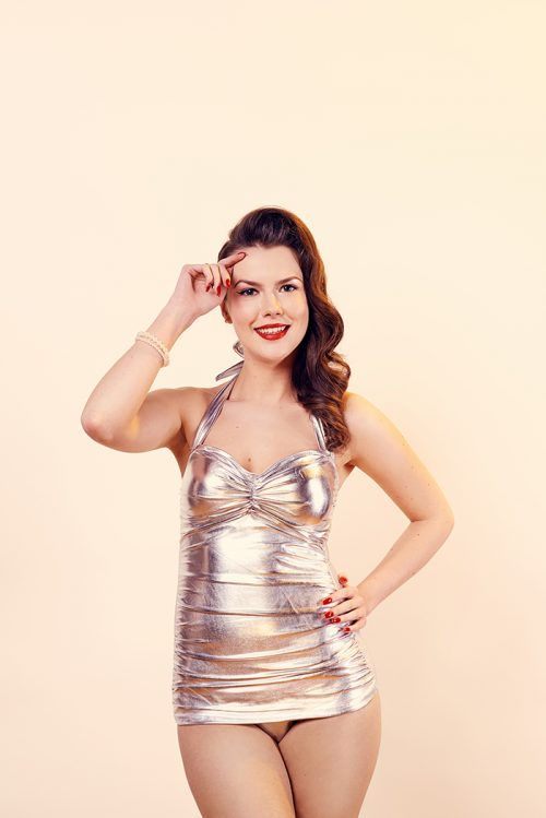 1950's silver retro swimsuit