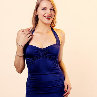 navy 50s style retro swimsuit